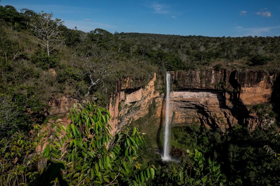 Cachoeira Véu de Noiva em Chapada dos Guimarães (Foto: José Medeiros)