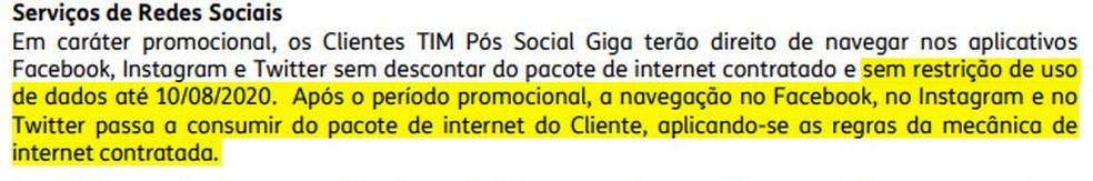 TIM afirma que uso de redes sociais sem descontar do pacote de internet valeria até 10 de agosto em caráter promocional — Foto: Reprodução/Tecnoblog