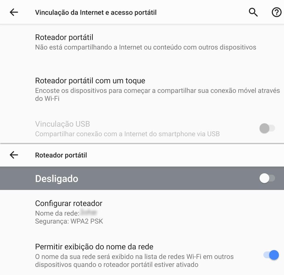 Configurações do ponto de acesso no Android. 'Vínculo' (ou 'tethering') USB deve ser evitado. — Foto: Reprodução