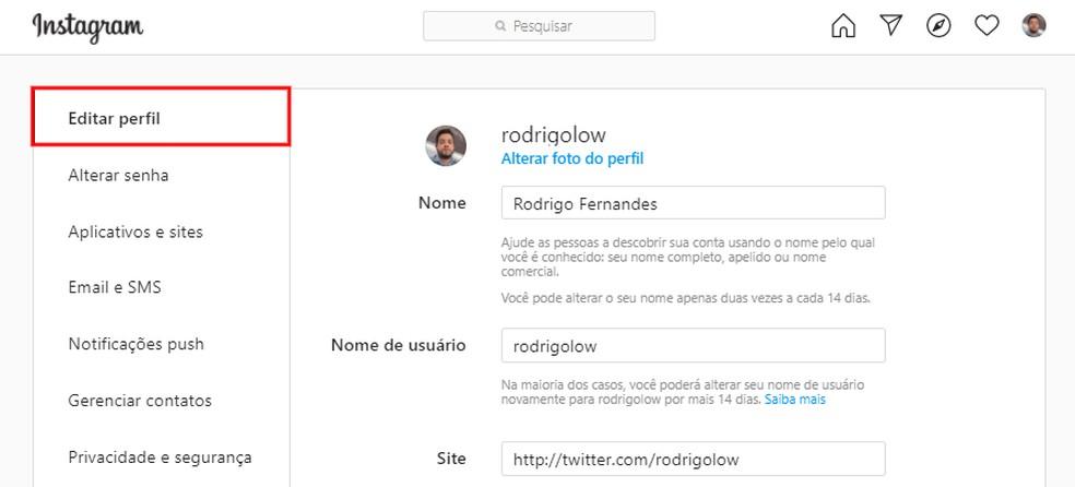 Instagram permite alterar informações do perfil pelo computador — Foto: Reprodução/Rodrigo Fernandes