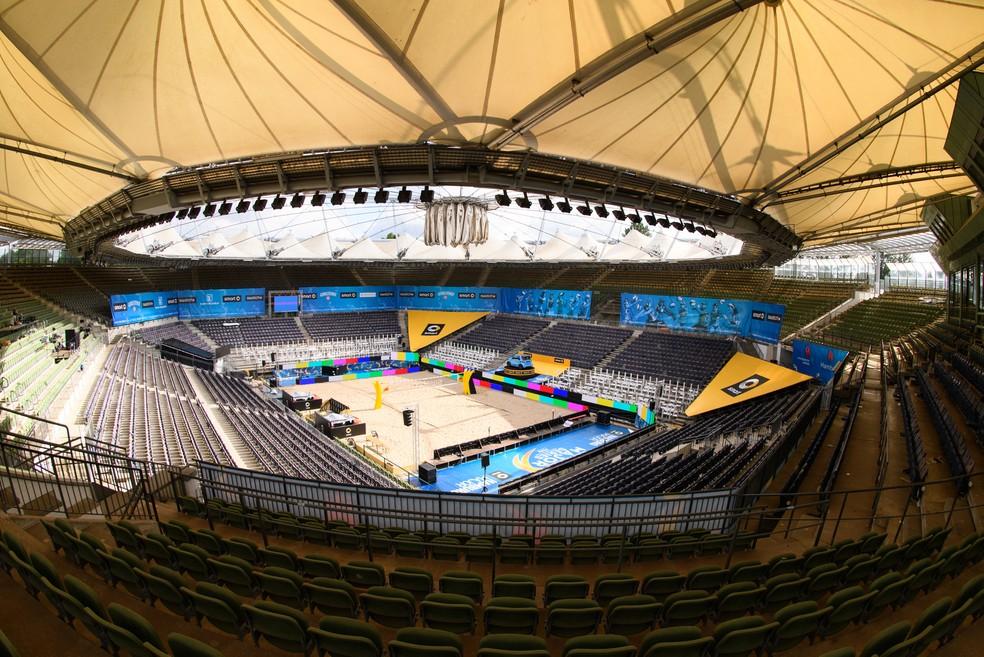 Arena montada em Hamburgo para Major Serie de Vôlei de Praia — Foto: Divulgação / FIVB