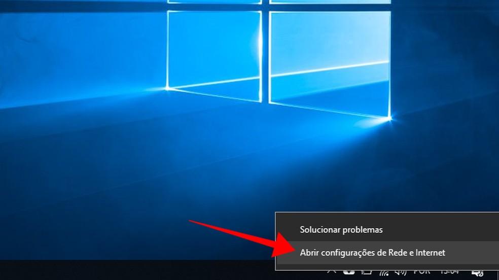 Acesse as configurações de rede do Windows — Foto: Reprodução/Paulo Alves