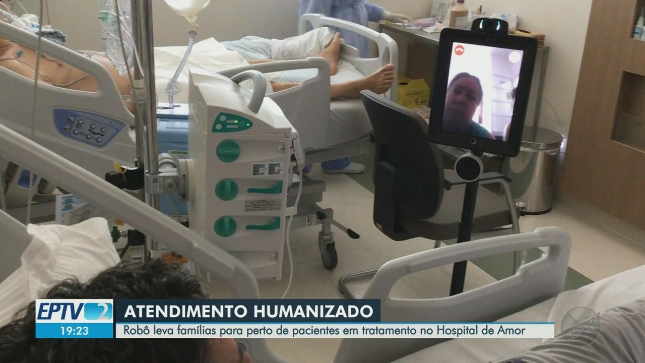 Robô leva familiares de pacientes com câncer para dentro de hospital em Barretos, SP