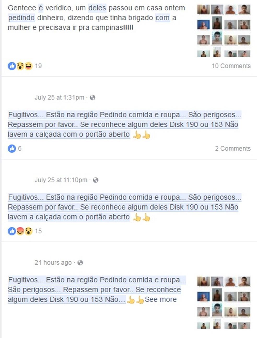 Post no Facebook sobre fugitivos na região (Foto: Reprodução/ Facebook)