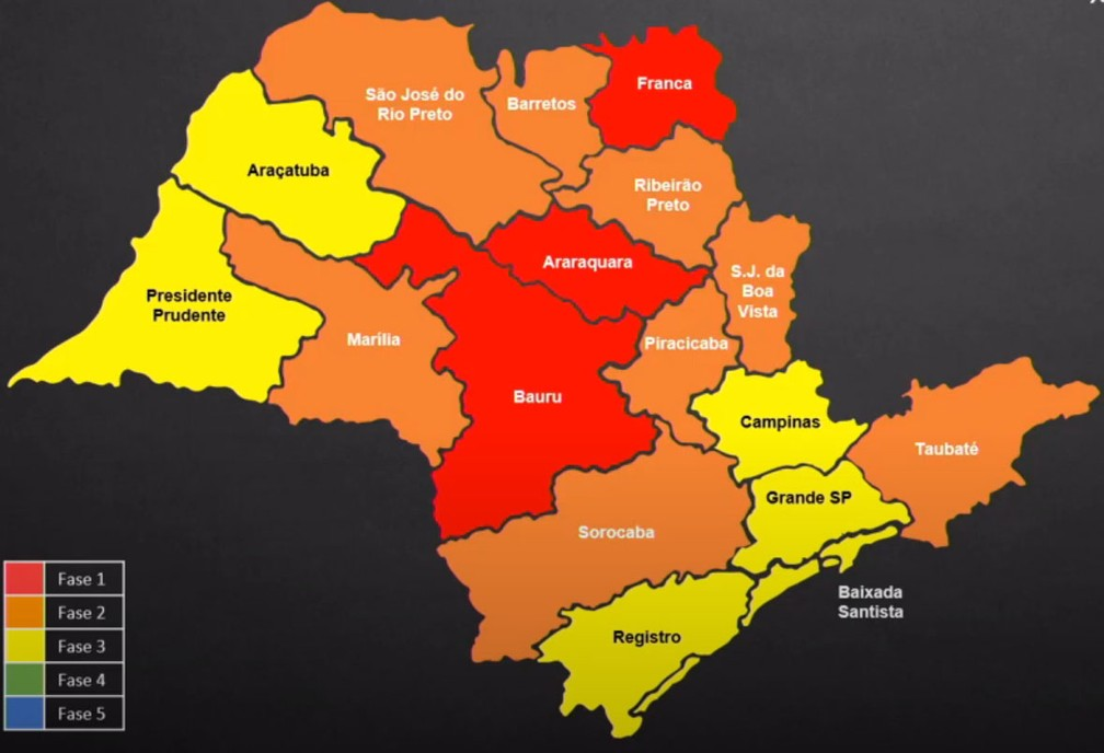 Região de Presidente Prudente evoluiu para a fase amarela do Plano São Paulo, enquanto o DRS de Marília passou para a etapa laranja, nesta sexta-feira (5) — Foto: Reprodução