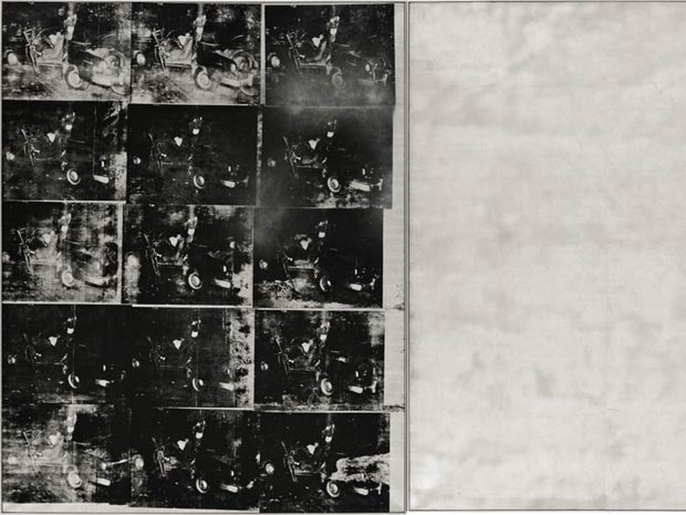 O quadro 'Silver Car Crash (Double Disaster)', de Andy Warhol. (Foto: Arquivo / Sotheby's/ Via AP Photo)