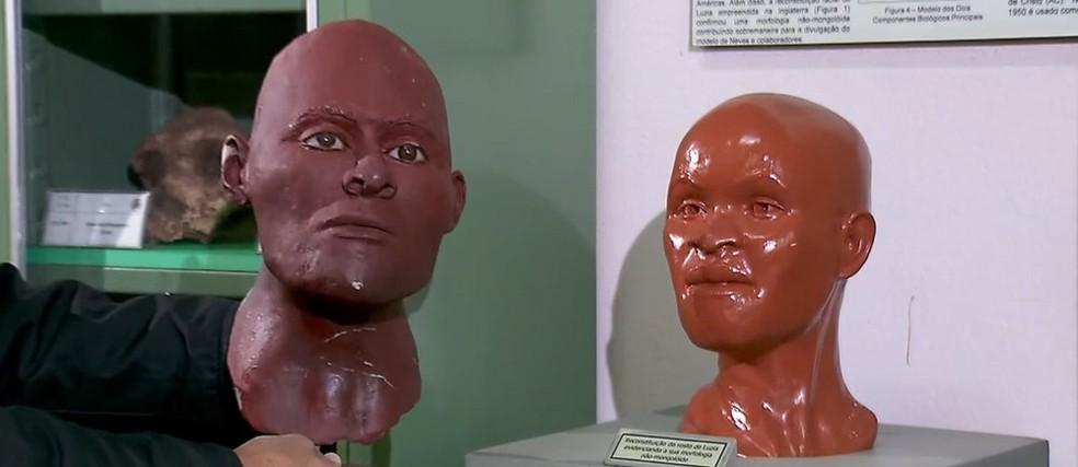 Reconstrução do rosto de Luzia — Foto: Reprodução/TV Globo