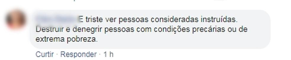 Mulher comentou em postagem feita por conselho de Rio Preto  — Foto: Reprodução/Facebook