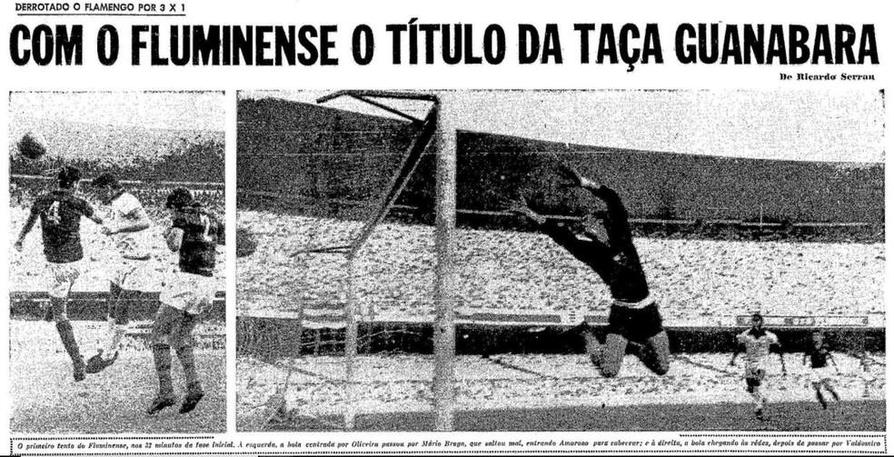 """Taça Guanabara tricolor nas páginas do jornal """"O Globo"""" do dia 08/09/1966 — Foto: Reprodução / O Globo"""