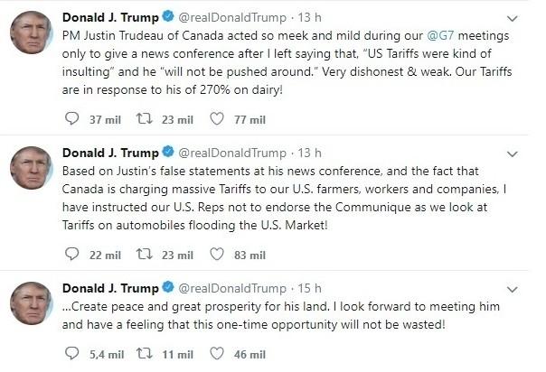 Donald Trump ataca Justin Trudeau pelo Twitter (Foto: Reprodução)