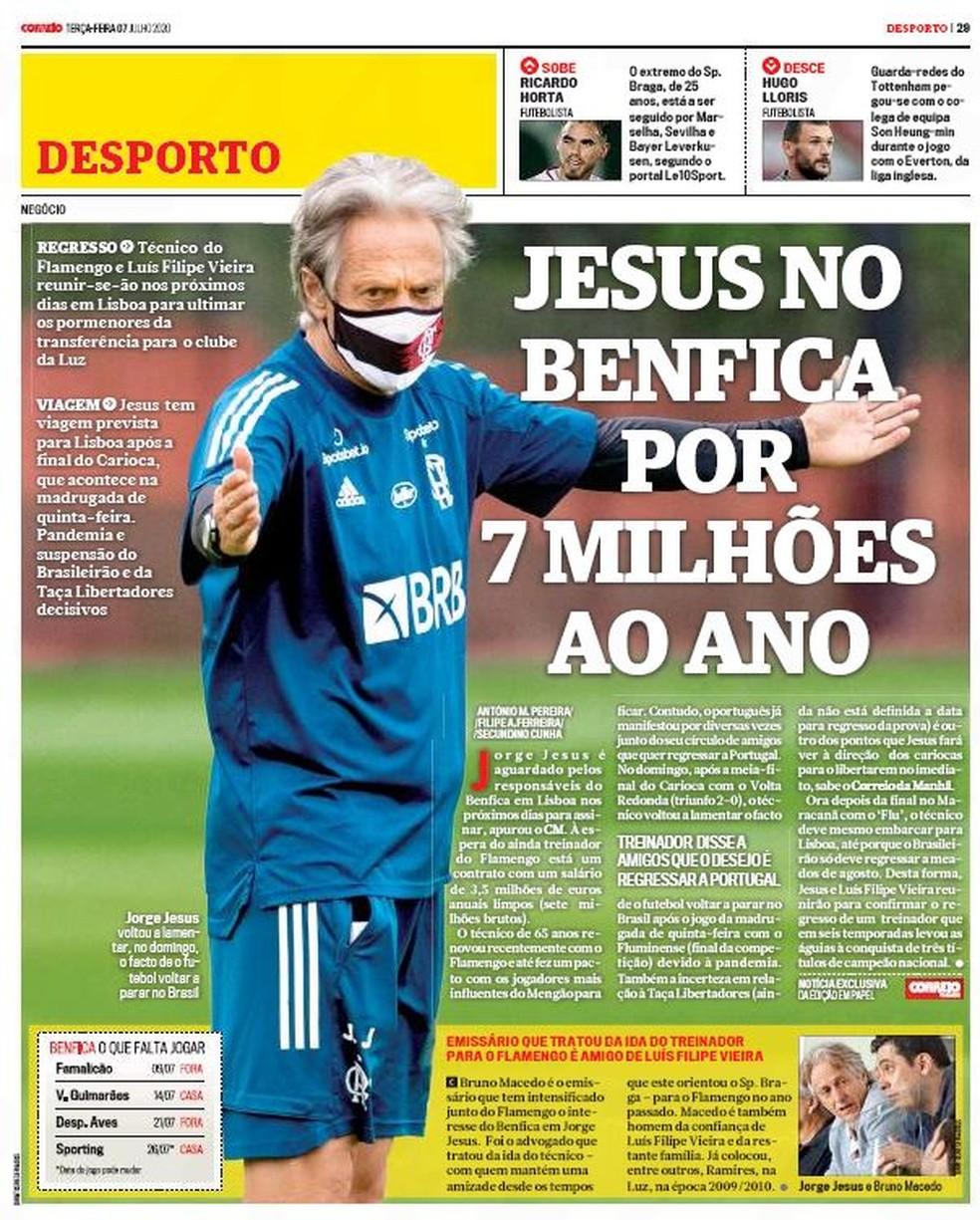 """""""Correio da Manhã"""" diz que Jorge Jesus é esperado em Portugal para assinar contrato — Foto: Reprodução"""