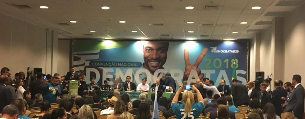 Convenção do Democratas em Brasília confirma apoio à pré-candidatura de Geraldo Alckmin (PSDB) (Foto: Fernanda Vivas/ TV Globo)