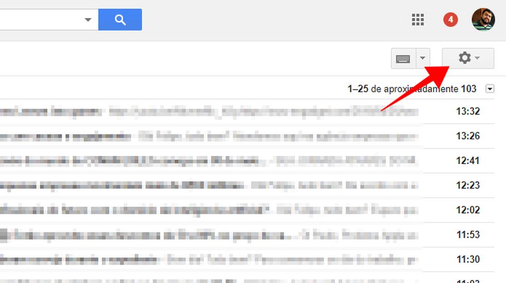 Acesse as configurações do Gmail (Foto: Reprodução/Paulo Alves)