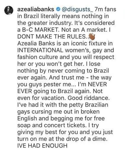 Azealia Banks diz que nunca mais voltará ao Brasil (Foto: Reprodução / Instagram)