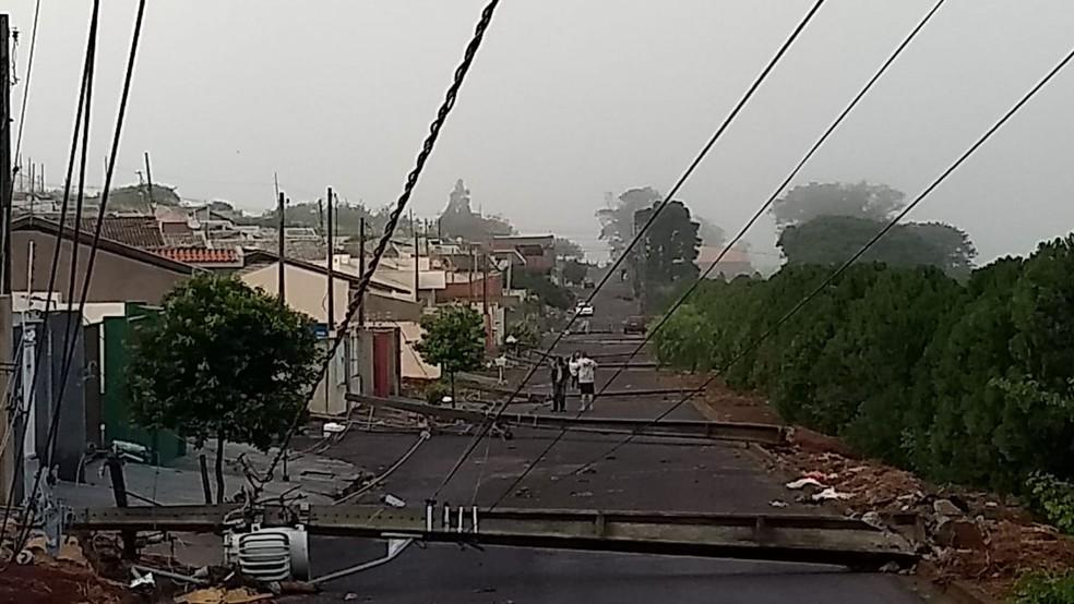 Sete postes de energia caíram em uma única rua em Rolândia — Foto: Alberto D'Angele/RPC