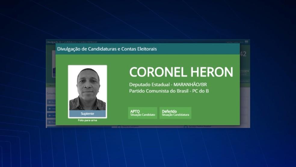 Coronel Heron já foi candidato a deputado pelo PCdoB, partido do governador Flávio Dino (Foto: Reprodução/TV Mirante)