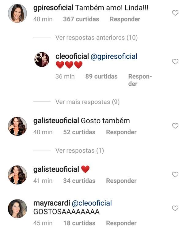 Famosos comentam post de Cleo (Foto: Reprodução)