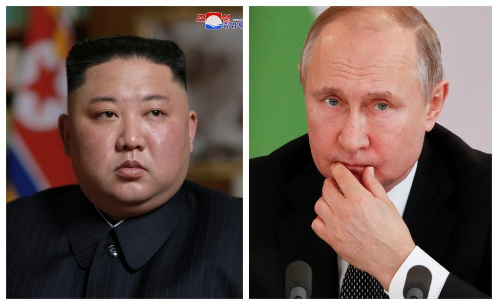 O líder da Coreia do Norte, Kim Jong-Un, vai se encontrar nesta quinta (25) com o presidente da Rússia, Vladimir Putin. — Foto: Fotos: Reuters