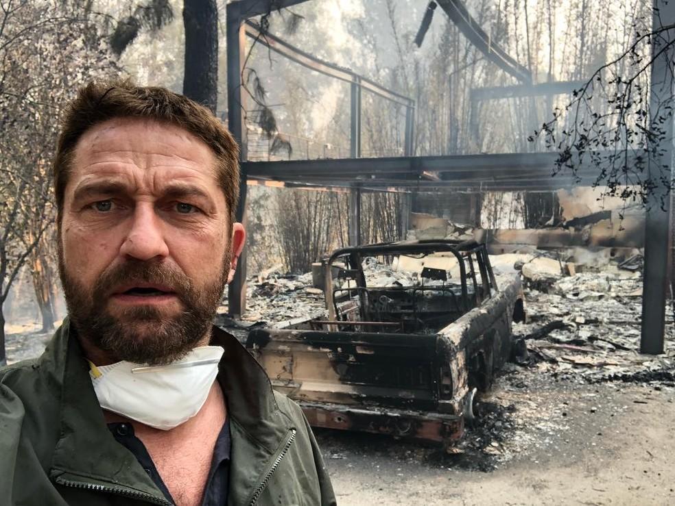 Gerard Butler tem casa destruída em incêndio na Califórnia — Foto: Reprodução/Instagram