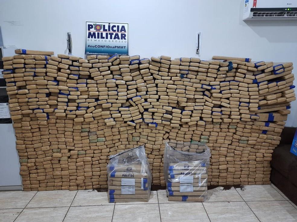 PM apreendeu 1,3 tonelada de maconha em Mato Grosso — Foto: Polícia Militar de Mato Grosso