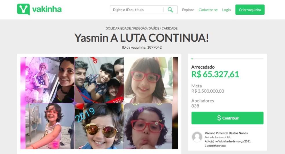 Família fez uma campanha para arrecadar dinheiro e pagar tratamento de Yasmin  — Foto: Reprodução