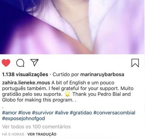 Zahira recebeu apoio até de celebridades como Marina Ruy Barbosa (Foto: Instagram/reprodução)