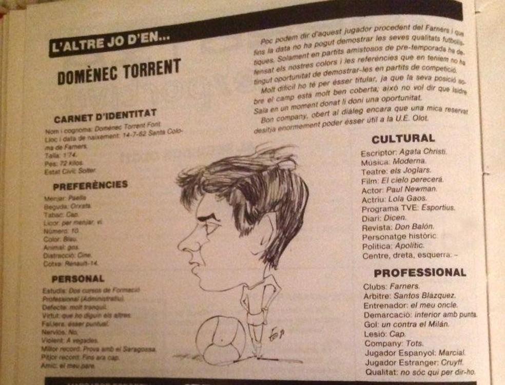 Domènec Torrent, em entrevista a uma revista de Girona quando tinha 18 anos — Foto: Arquivo pessoal