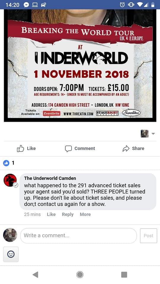 O dono de uma casa de show na Inglaterra reclamando da ausência de público no show do grupo Threatin (Foto: Facebook)