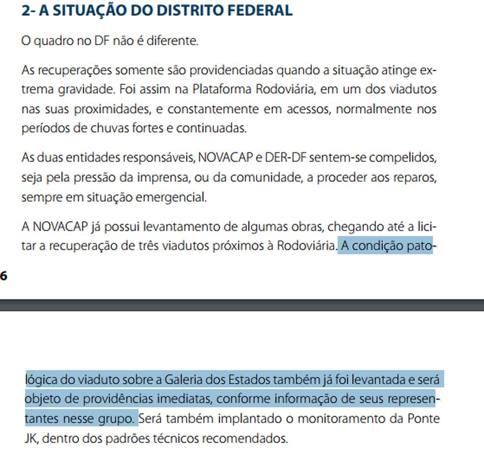 Trecho do relatório do Crea, de 2009, que cita necessidade de manutenção de viaduto que desabou em Brasília (Foto: Crea/Reprodução)