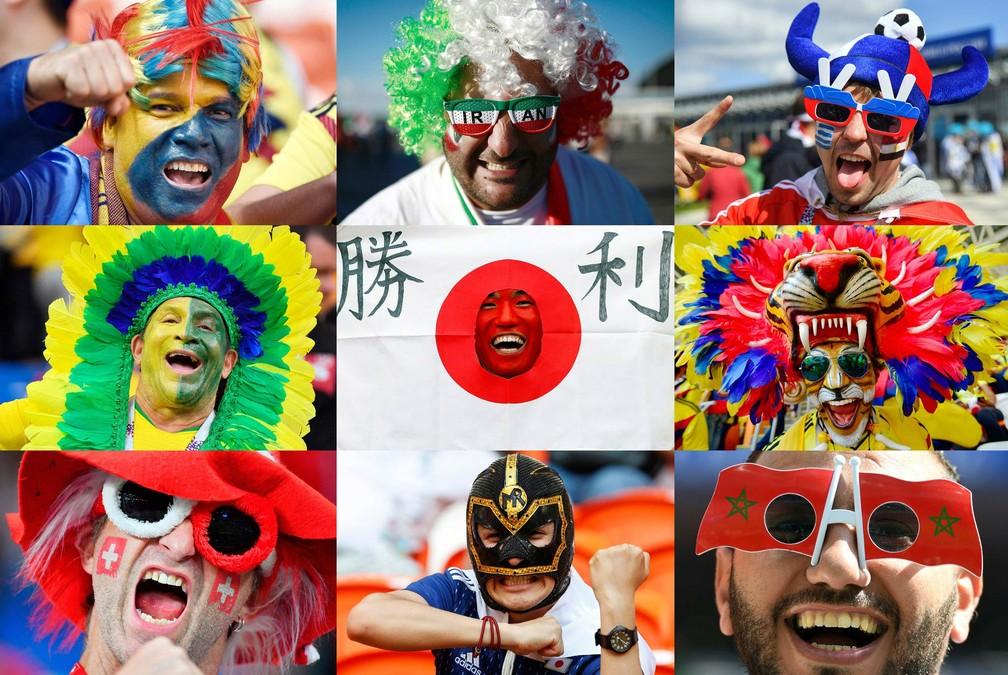 Emoção estampada nos rostos de torcedores durante jogos da 1ª fase da Copa do Mundo 2018 (Foto: AFP)
