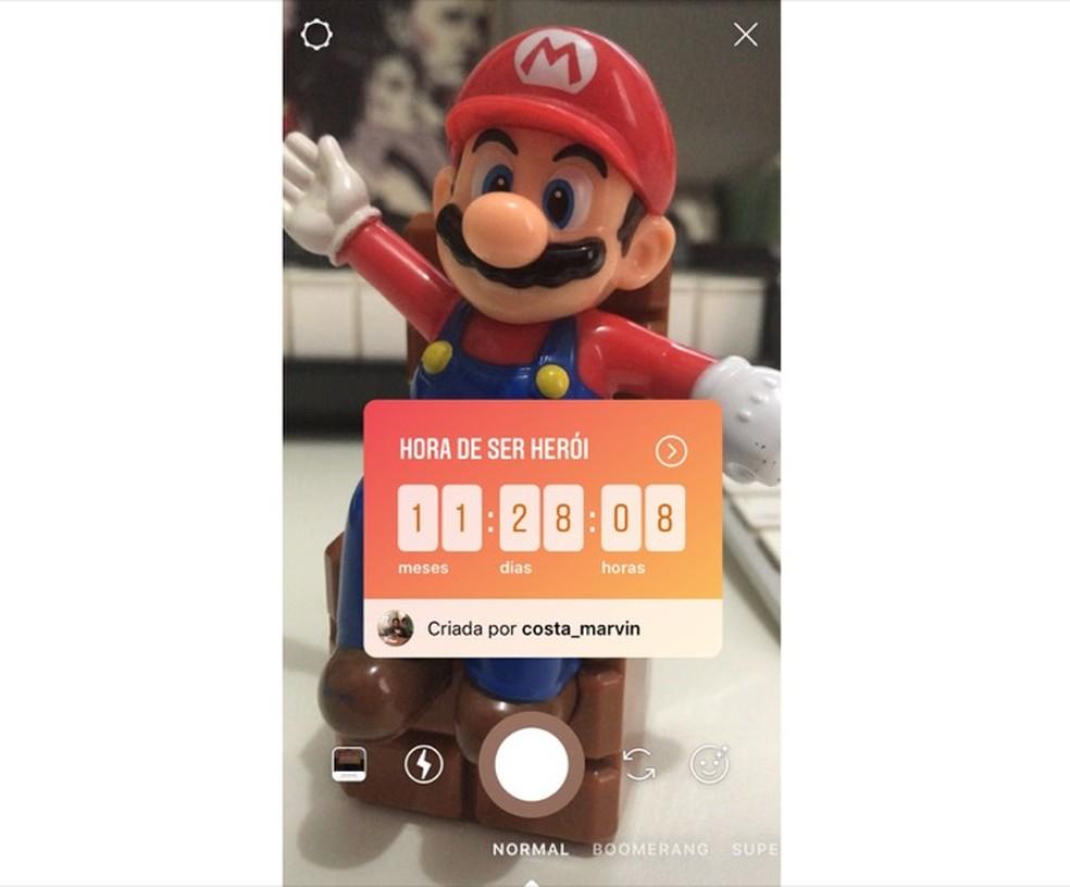 Contagem regressiva de um amigo sendo compartilhada no Instagram Stories — Foto: Reprodução/Marvin Costa