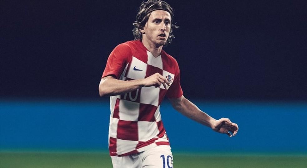 Modric com a camisa da Croácia para a Copa do Mundo (Foto: Divulgação)