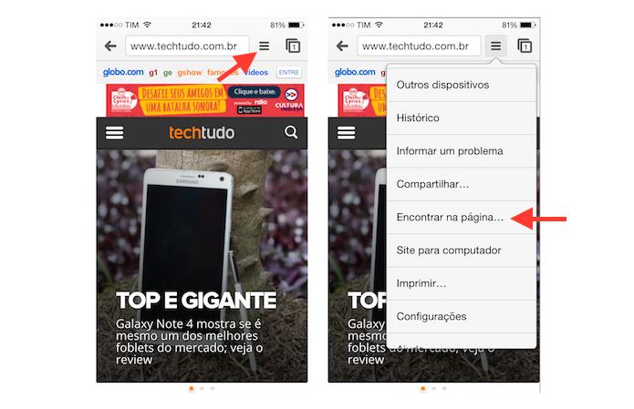 Acessando a ferramenta Encontrar na Página do Chrome para iOS (Foto: Reprodução/Marvin Costa)