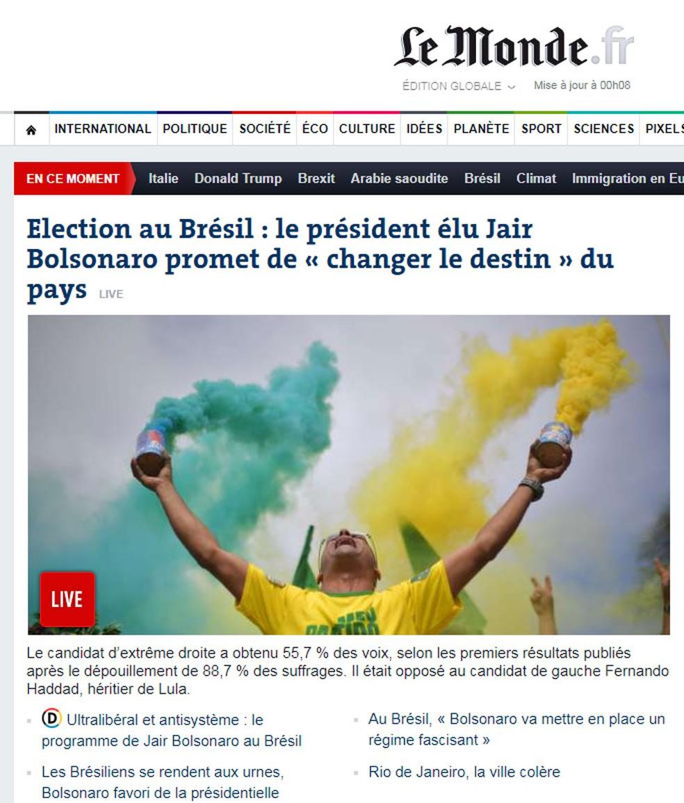 Manchete do 'Le Monde' sobre a eleição presidencial brasileira — Foto: Reprodução/Le Monde