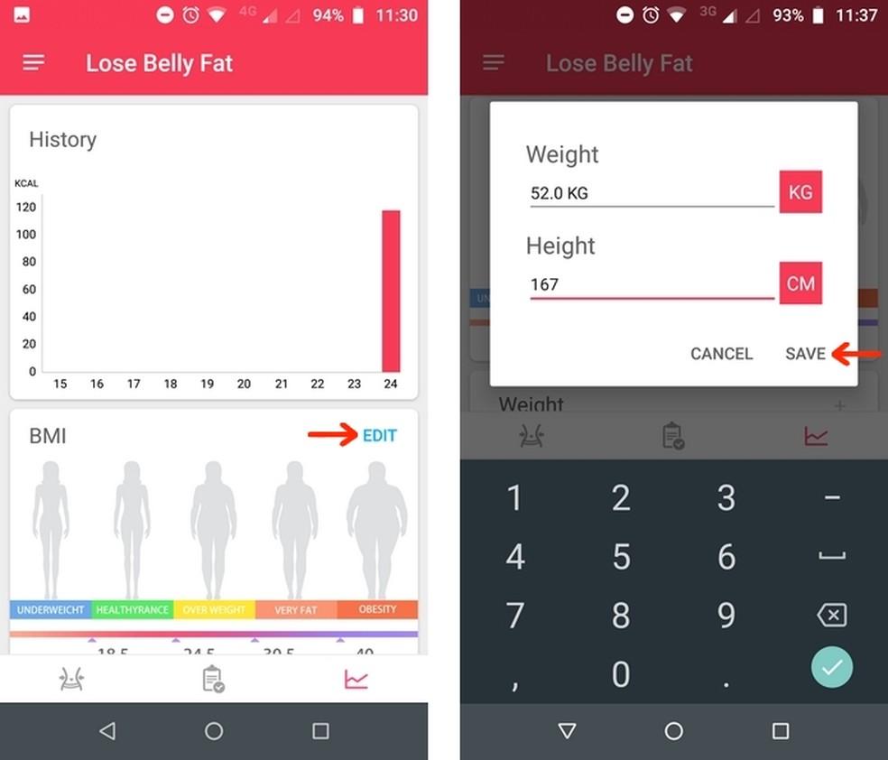 Gráficos de histórico de perda calórica e IMC no app Lose Belly Fat — Foto: Reprodução/Raquel Freire