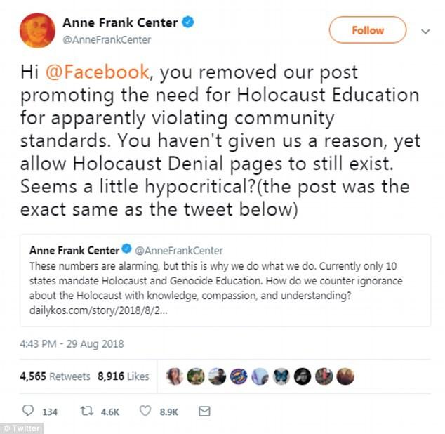 Críticas do Anne Frank Center ao Facebook.  (Foto: Reprodução / Twitter)