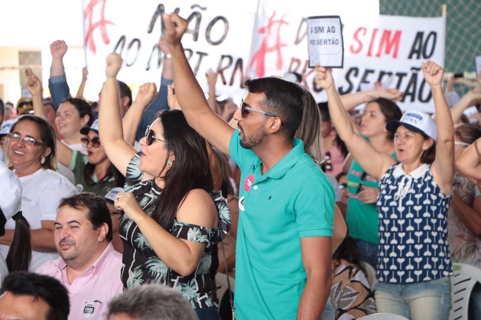 Protesto contra ação do MPT aconteceu em São José do Seridó, no RN — Foto: Divulgação/ Governo do RN