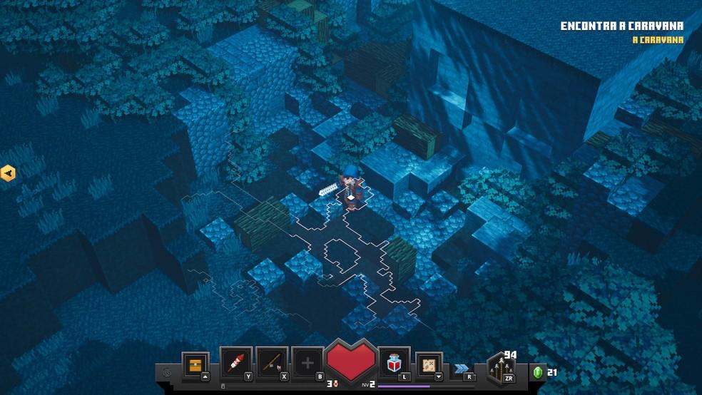 Minecraft Dungeons explora nova vertente — Foto: Reprodução/Felipe Vinha