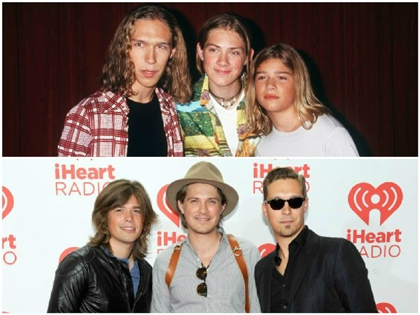 Os irmãos do Trio Hanson no início de carreira e nos dias de hoje (Foto: Divulgação)