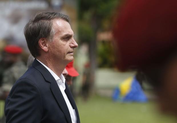 O presidente eleito Jair Bolsonaro, em evento da Brigada de Infantaria Paraquedista, na Zona Oeste do Rio de Janeiro (Foto: Fernando Frazão/Agência Brasi)