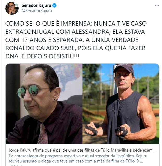 Jorge Kajuru quer DNA para saber se é pai de filha de Túlio Maravilha (Foto: Reprodução/Twitter)