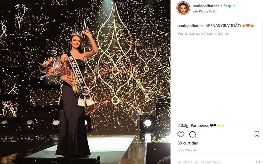 Paula Palhares, Miss Sumaré, vence o concurso Miss São Paulo 2018 (Foto: Reprodução/Instagram/Paula Palhares)
