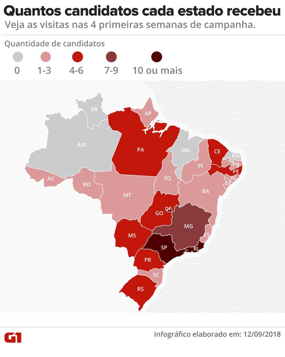 Quantos candidatos a presidente cada estado recebeu nas 4 semanas de campanha — Foto: Alexandre Mauro/G1