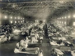 Soldados com gripe espanhola em hospital no Kansas, Estados Unidos