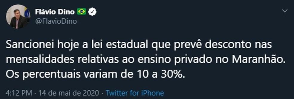 Governador do Maranhão, Flávio Dino (PCdoB), anuncia que sancionou lei que prevê desconto em mensalidades de instituições privadas. — Foto: Reprodução/Redes sociais