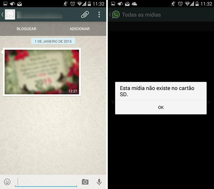 WhatsApp deixa de exibir as imagens do usuário quando o arquivo é deletado do celular (Foto: Reprodução/Elson de Souza)