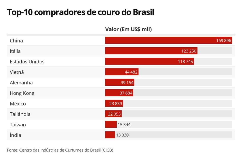 Principais destinos do couro brasileiro — Foto: Rikardy Tooge/G1