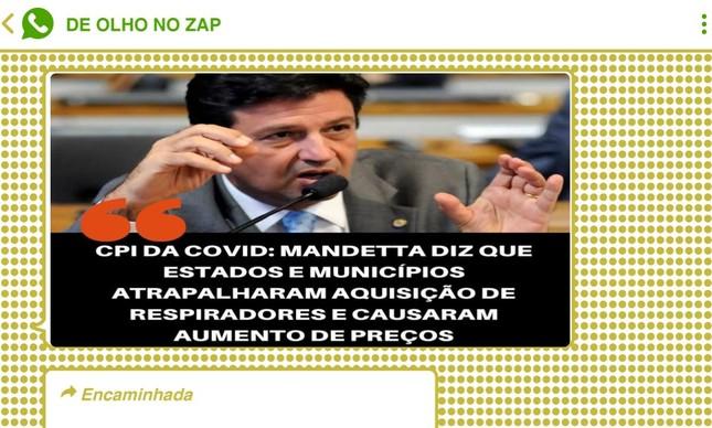 Falas de Mandetta foram tirados de contexto nas redes pró-Bolsonaro no WhatsApp e no Telegram