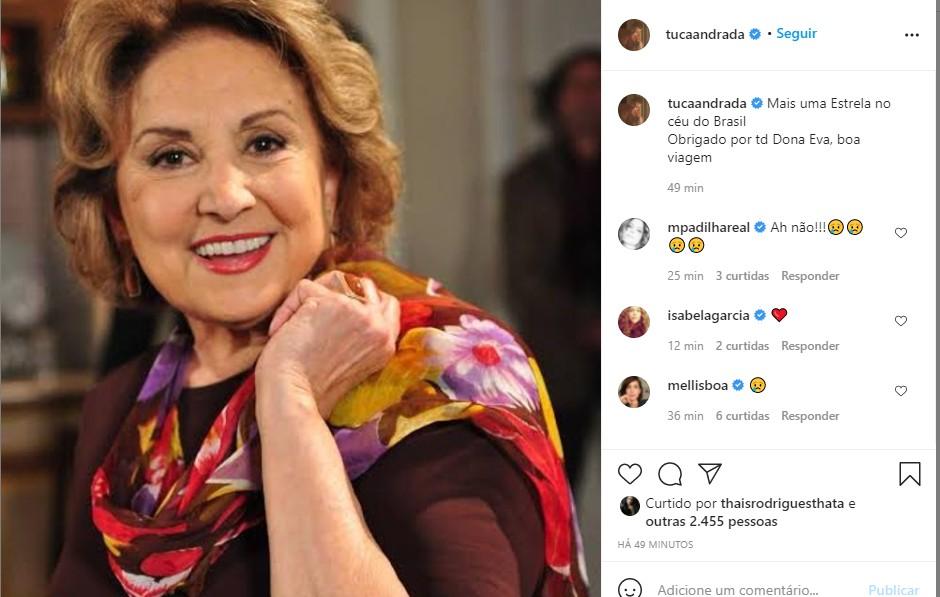 Tuca Andrada se despede de Eva Wilma (Foto: Reprodução Instagram)