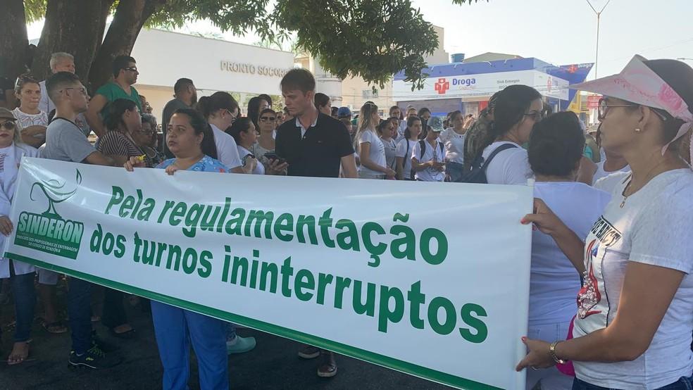 Categoria pede regulamentação de turnos ininterruptos — Foto: Priciele Venturini/Rede Amazônica